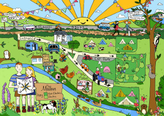 map, wildlife, campsite, camping, nature, sun, tents, camper van, hens, dogs, otter, ducks, bunting