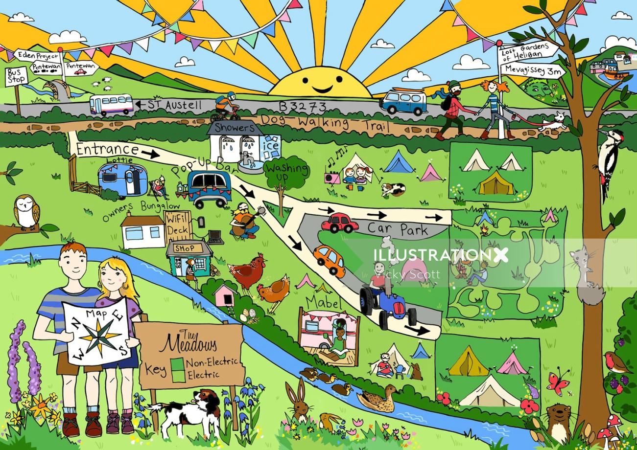 Graphic design of Meadows Campsite Map
