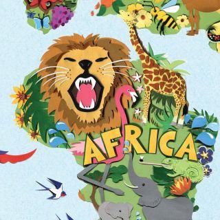 map, wildlife, africa, lion, elephant, flamingo giraffe, swallows, chameleon