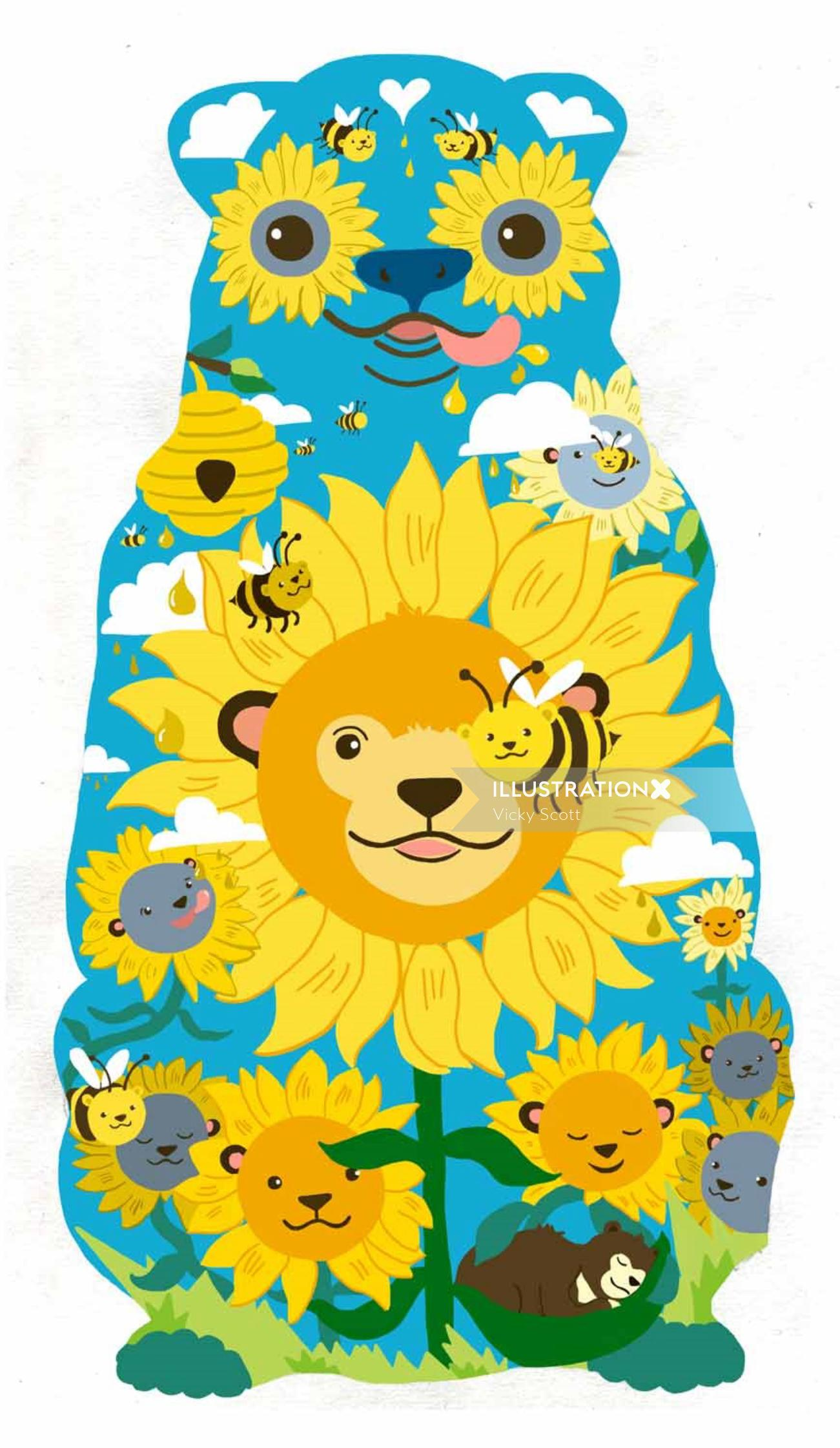 Bear, from bees to sunflowers   handmade paper collage