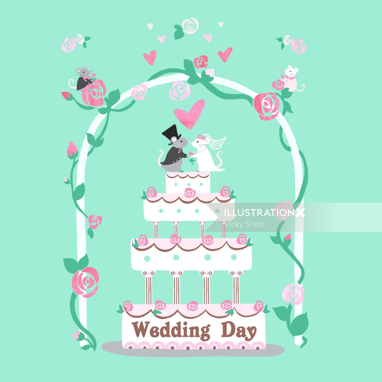 wedding, mice, wedding cake, love, mouse, animals in love, roses,
