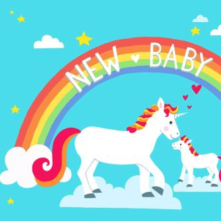 unicorn, new baby, rainbow, stars, clouds, baby animal, horse, pattern, greeting card