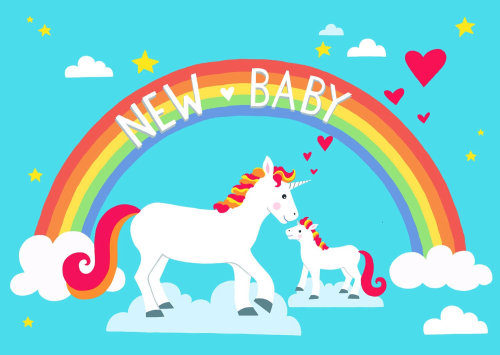 Graphic illustration of Cute unicorn new baby card
