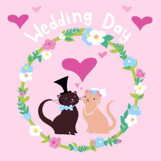 cats, wedding, love, kitties, flowers, hearts,
