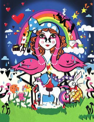 wonderland, flamingo, rabbit, unicorn, rainbow, flowers, mushroom, hearts, stars, dj, birds