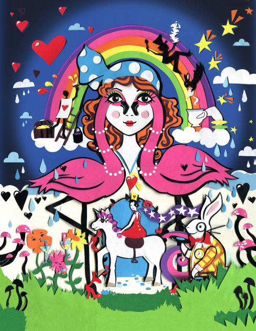 país das maravilhas, flamingo, coelho, unicórnio, arco íris, flores, cogumelo, corações, estrelas, pássaros