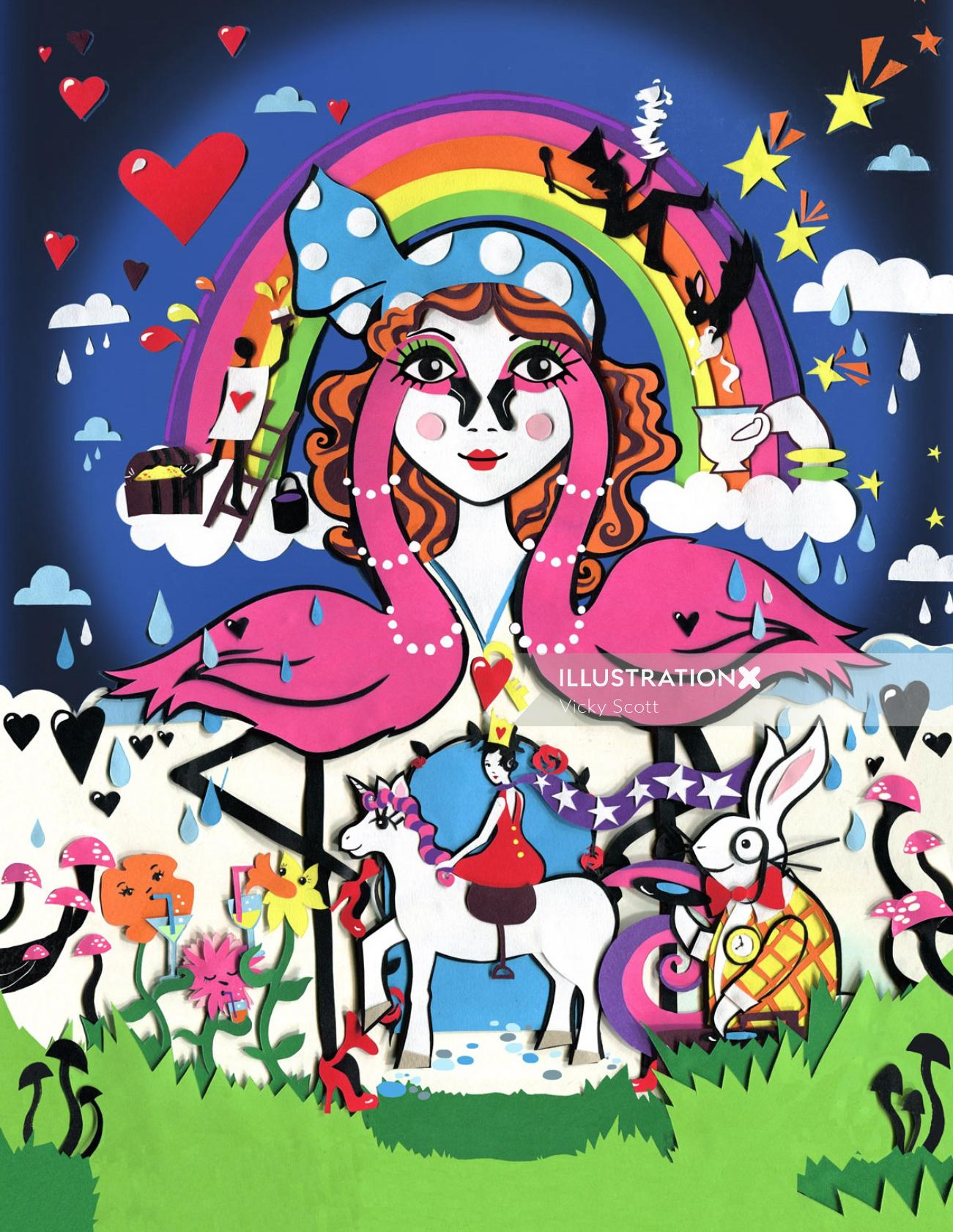 wonderland, flamingo, rabbit, unicorn, rainbow, flowers, mushroom, hearts, stars, dj, birds