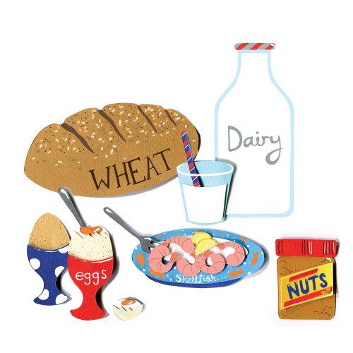 alimentos, laticínios, amendoim, marisco, ovos, leite, trigo, pão, alergias, alergia, leite, manteiga de amendoim