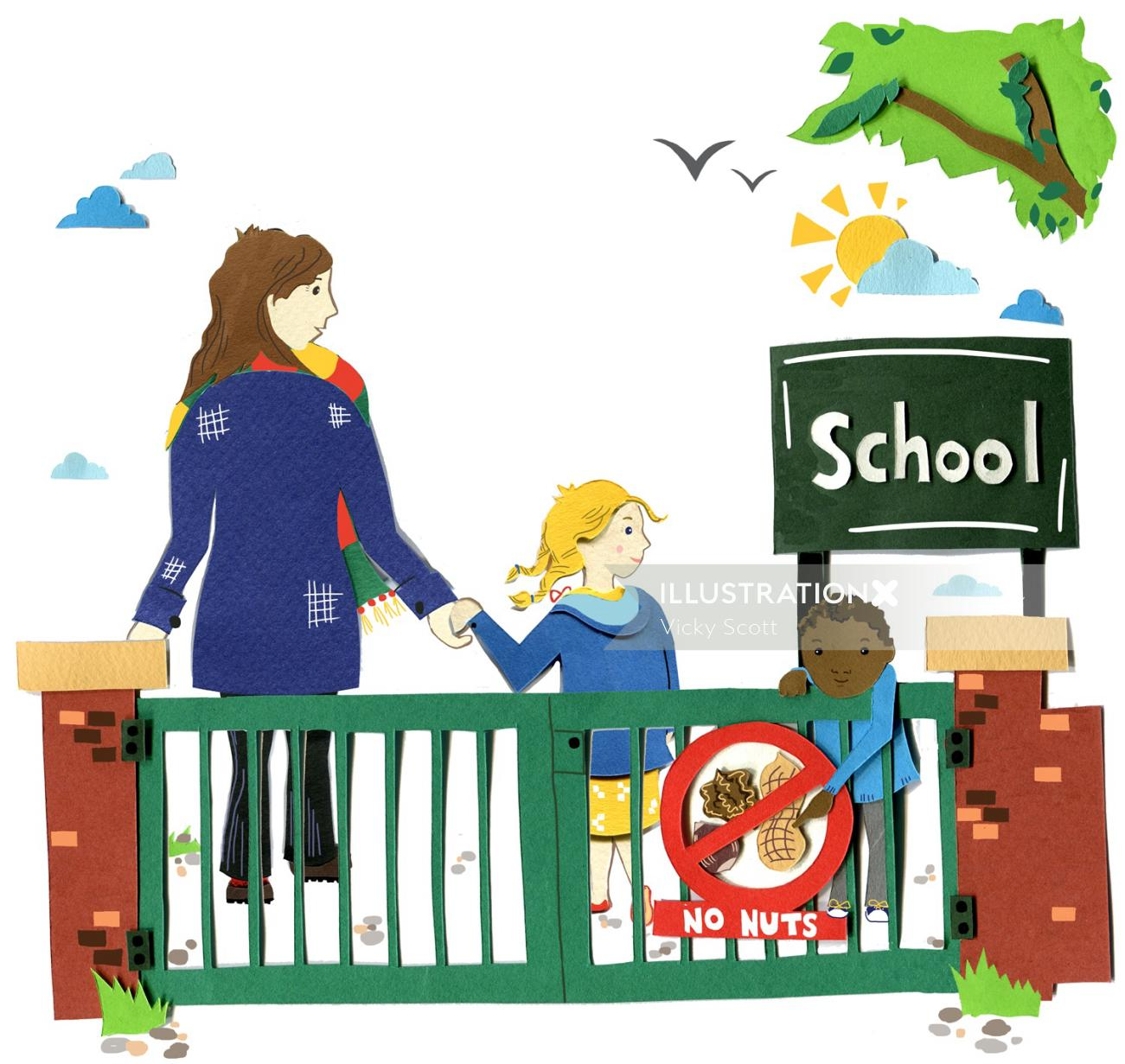 Illustration showing a humorous nut free school!