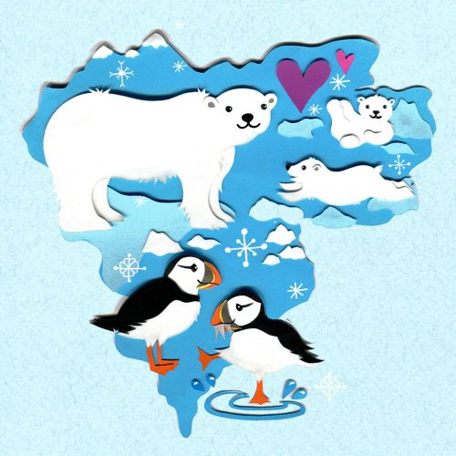 polar bear, puffins, north pole, winter, map, wildlife, animals, snow