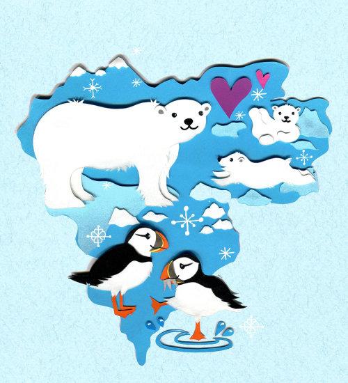 urso polar, papagaio-do-mar, pólo norte, inverno, mapa, animais selvagens, animais, neve