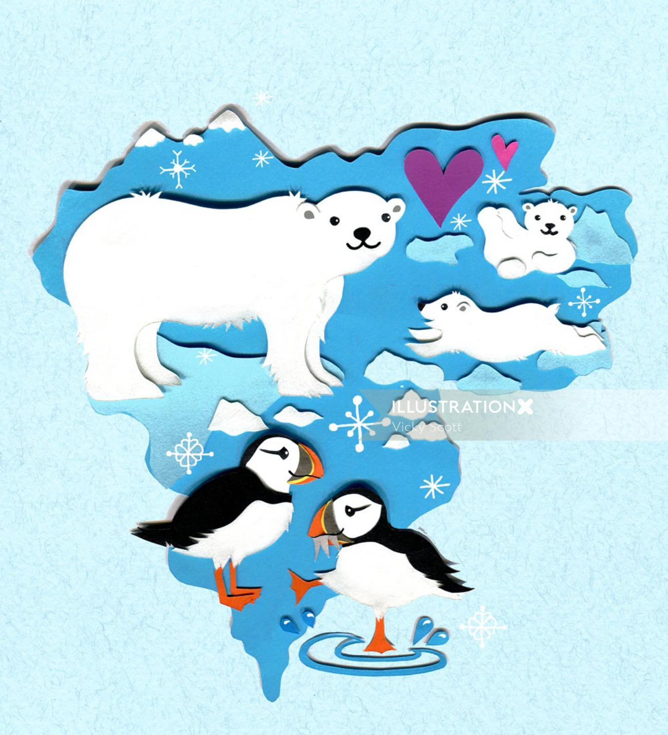 polar bear, puffins, north pole, winter, map, wildlife, animals, snow