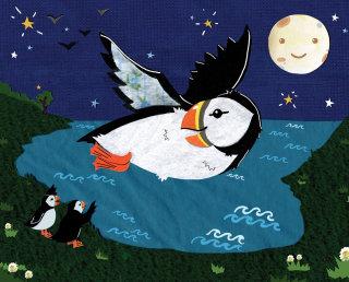 puffins, birds, night, nature, kids, moon,sea