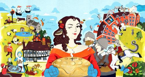 Ilustração de Eastbourne nos tempos de Tudor e Stuart