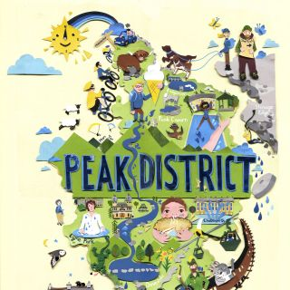 peak district, countryside, animals,travel poster, illustrated map