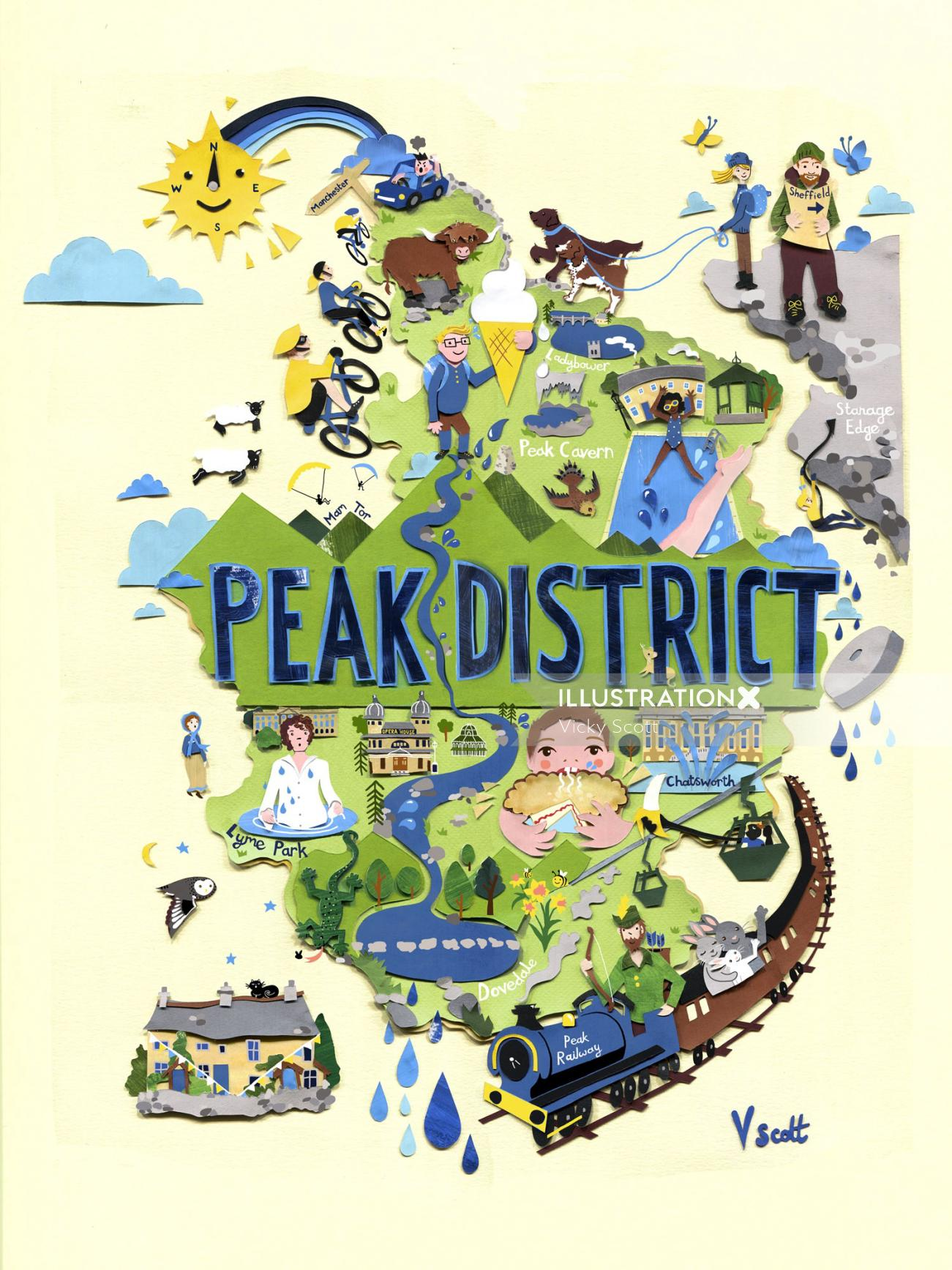Graphic design of Peak District Map