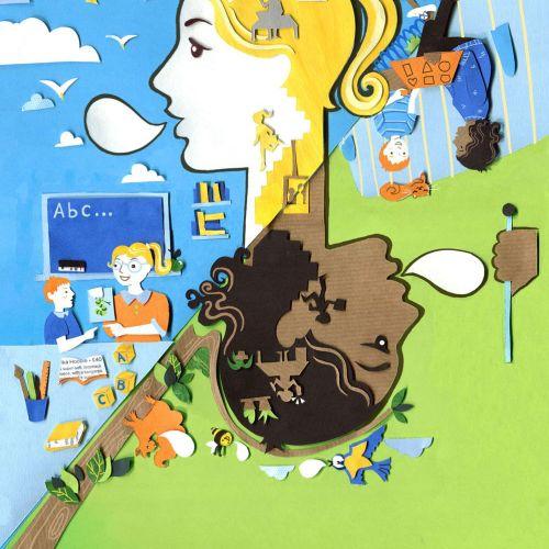 silhouette, language, school, kids, children, birds, home, sun, health, playground, communication