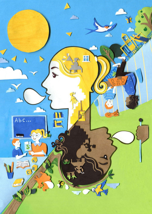 silhueta, língua, escola, crianças, crianças, pássaros, casa, sol, saúde, parque infantil, comunicação