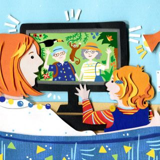 Illustration for Angels and urchins magazine on using tech with children.