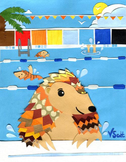 pangolim, animais em extinção, natação, ilustração infantil, esporte, vida selvagem em extinção