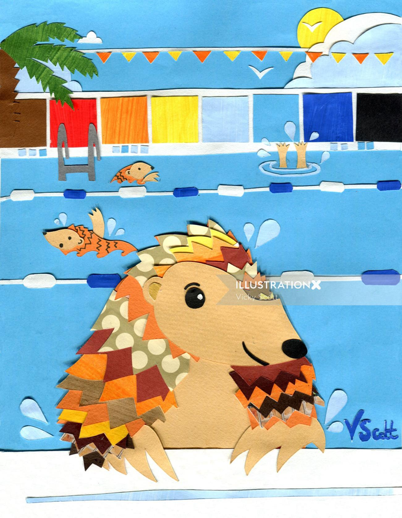 pangolin, endangered animals, swimming, childrens illustration, sport, endangered wildlife