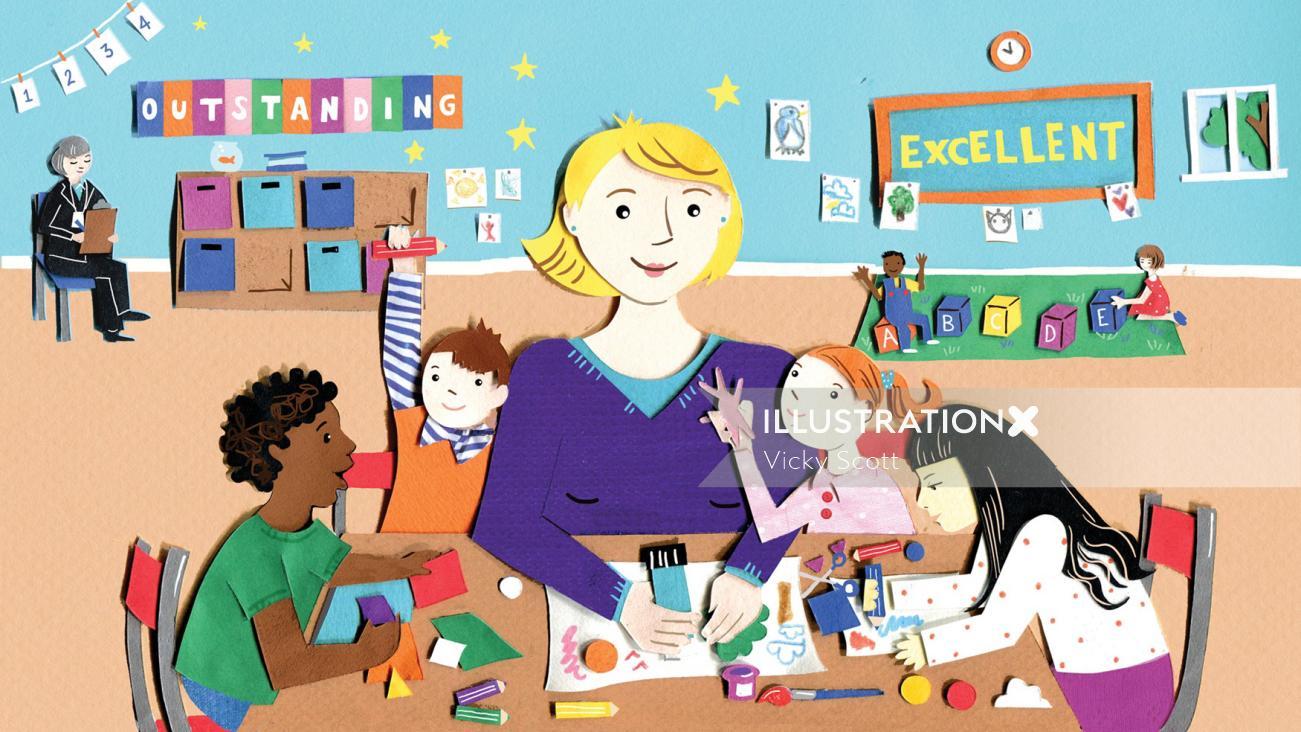 children, nursery, school, kids, lettering, activities, learning, collage,