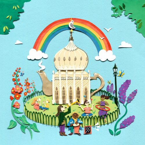 teapot, architecture, brighton pavilion, garden, crowd, travel, flowers, rainbow, seagull, musicians