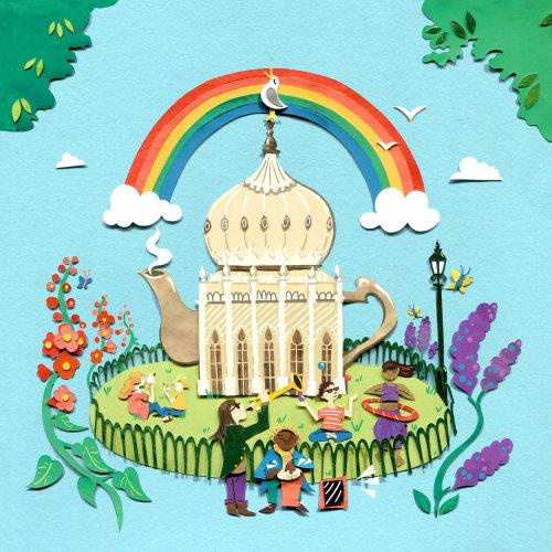 bule de chá, arquitetura, pavilhão de brighton, jardim, multidão, viagem, flores, arco íris, gaivota, músicos