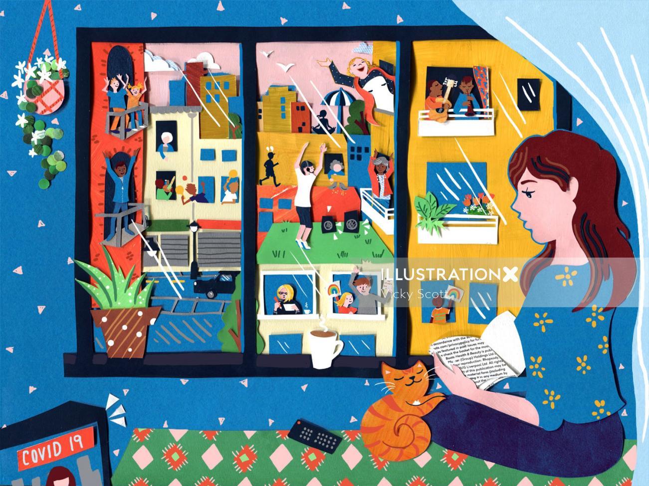 social distancing, covid 19, coronovirus, interior, cat, home, excercise, cityscape, streetscene, mu
