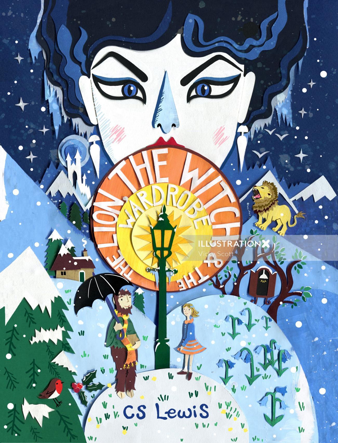childrens book, snow, winter scene, book cover, cs lewis, lion, witch, children, fantasy, robin, blu