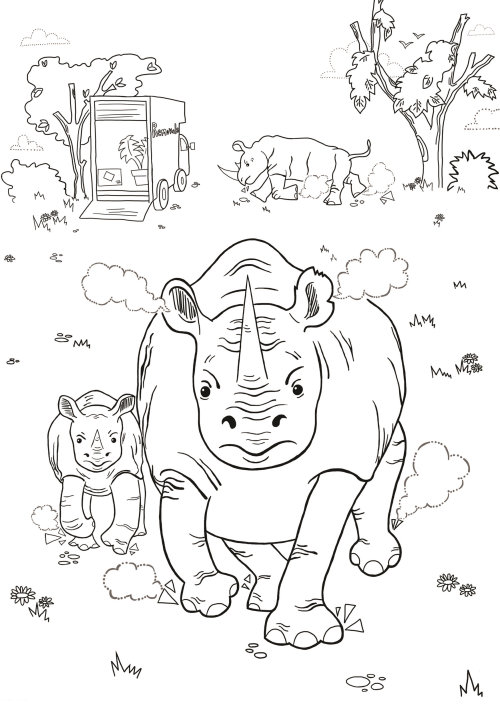 rhino, humour, protest, wildlife, animals, zoo, sea, angry animals, colouring page, colouring book,