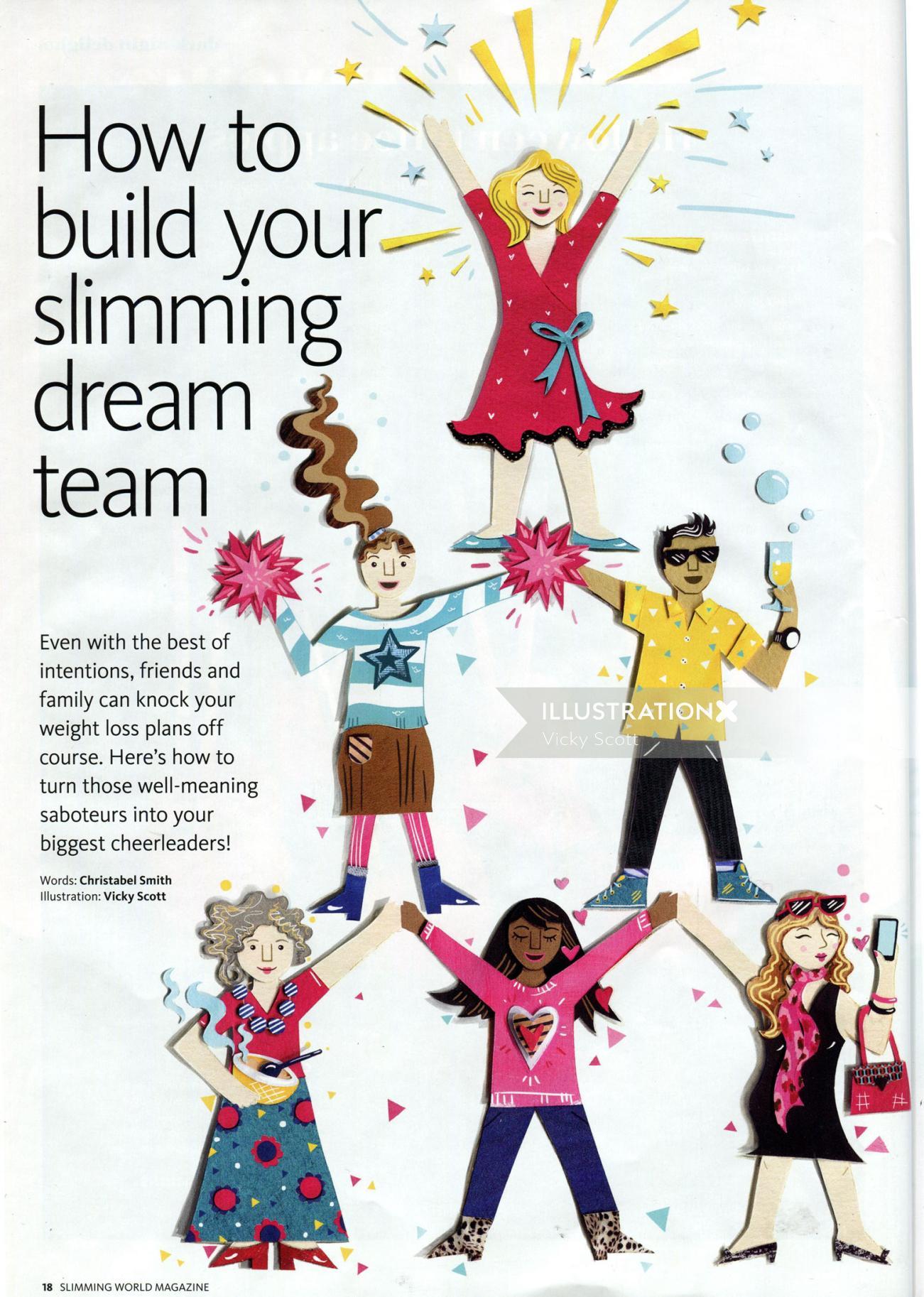 women, paper dolls, cheerleaders, slimming, health, fashion, selfie, wine, diet