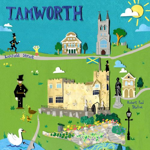 tamworth, map,castle, history, church, pigs, policeman, statue, swans, flowers