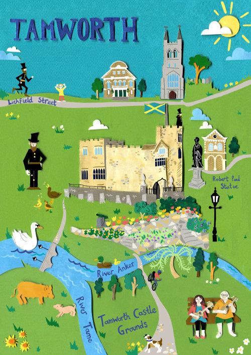 tamworth, mapa, castelo, história, igreja, porcos, policial, estátua, cisnes, flores