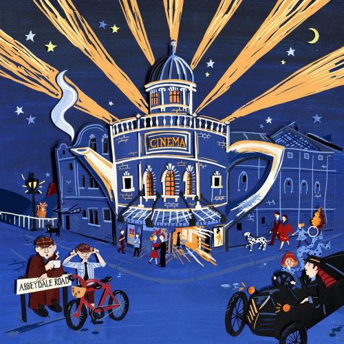 arquitetura, edifícios, sheffield, art déco, cena de multidão, noite, cena de rua, história, anos 1920,