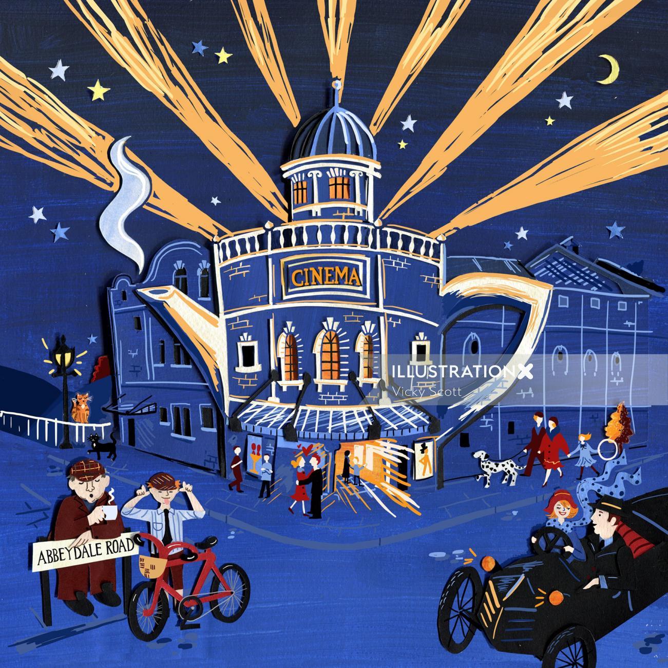 architecture, buildings, sheffield, art deco, crowd scene, nighttime, street scene, history, 1920s,