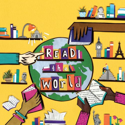reading, books, poster, globe, landmarks, diverse, reading, big ben, london, sydney, new york, statu