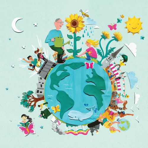 earth, whale, butterfly, sun, sunflowers, city, church, market, reading, beach, dandelion, grandpa,