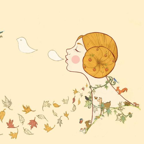 autumn, deer, rabbit, leaves, birds, girl, blackbird, mushrooms