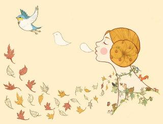 autumn, deer, rabbit, leaves, birds, girl, blackbird, mushrooms