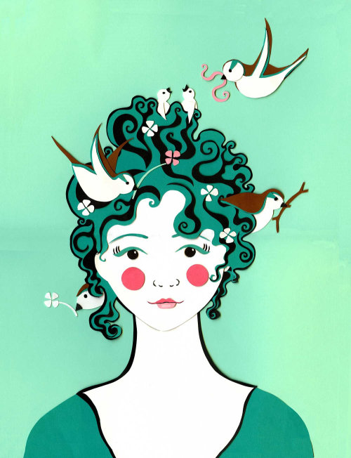 pássaros, cabelo, primavera, marie antoinette