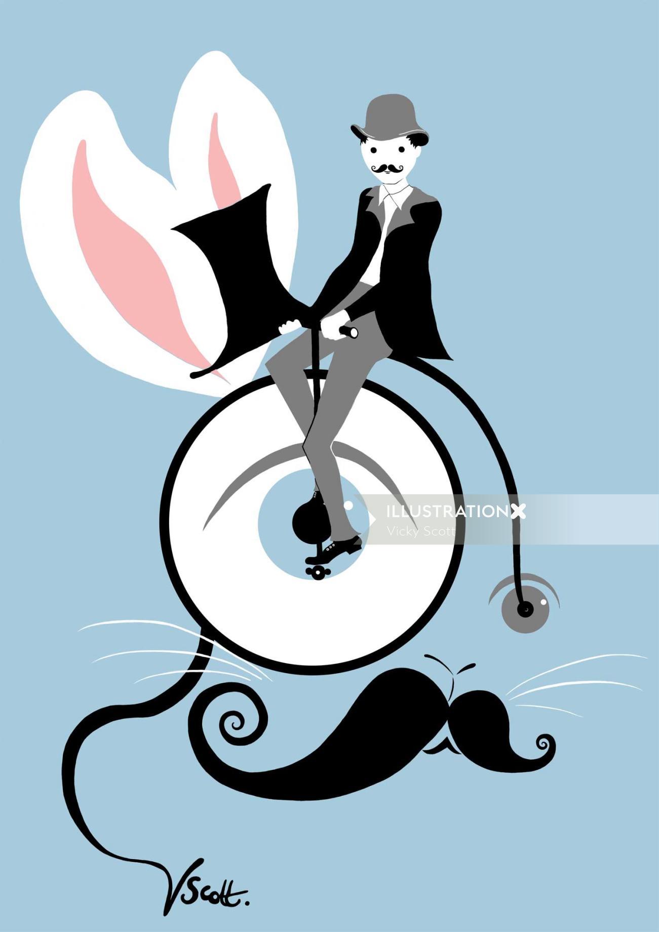 rabbit, bike, bicycle, victorian, man, gentleman, monocle