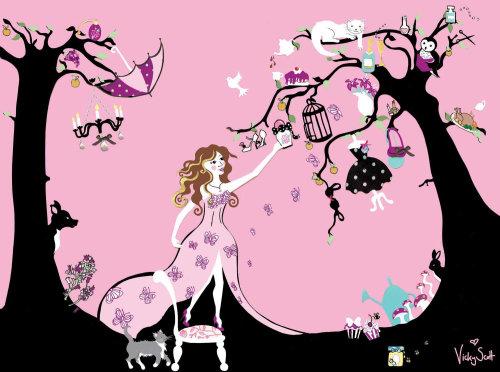 lady, tree, deer, clothes, cat, mushrooms, owl, butterflies, umbrella
