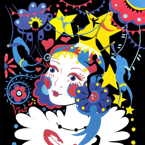 circus, stars, bunny, hearts, flowers,