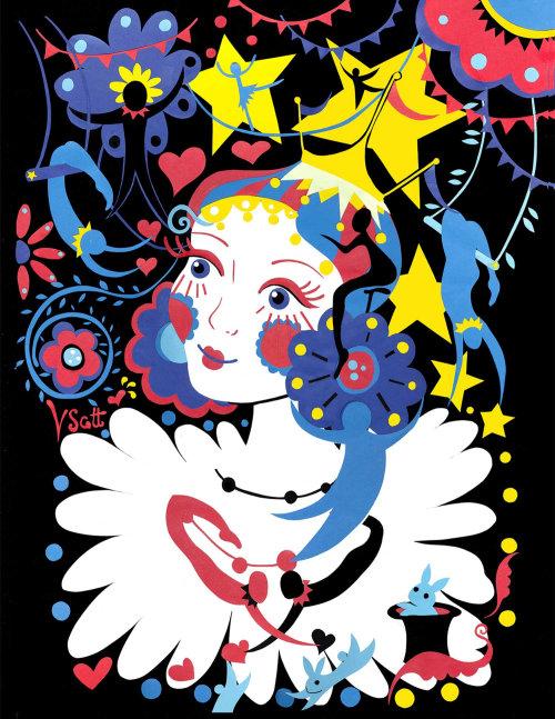 circo, estrelas, coelho, corações, flores,