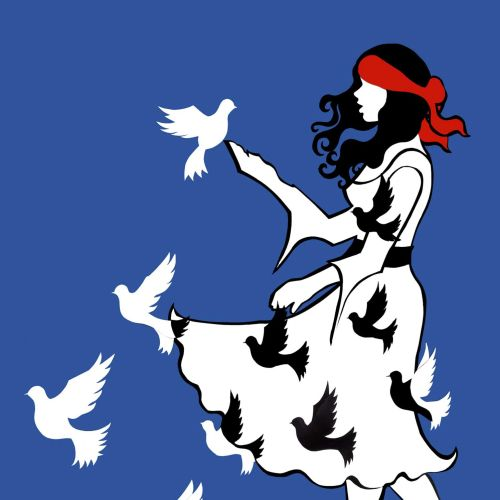 Birds flying from girl dress illustration by Vicky Scott