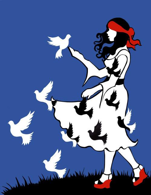 Pássaros voando de ilustração de vestido de menina por Vicky Scott