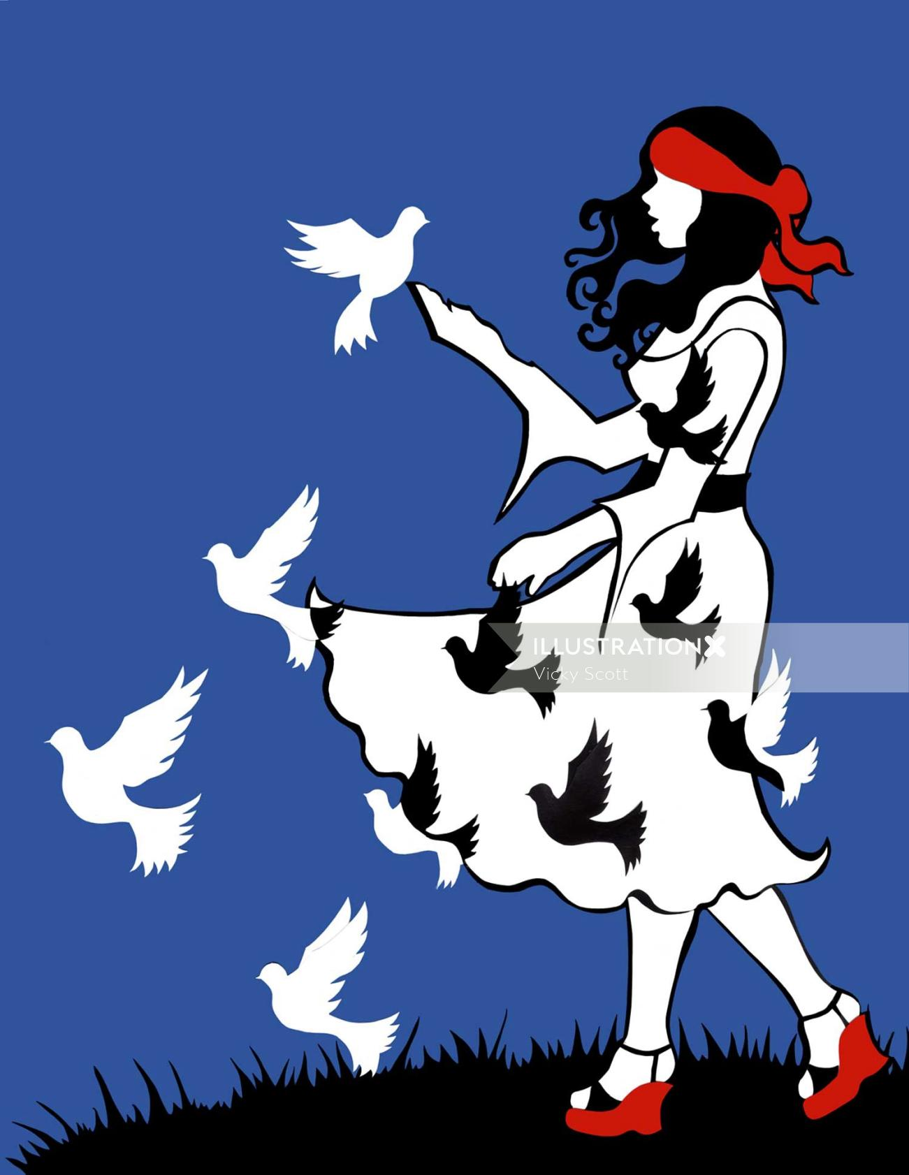 Birds flying from girl dress illustration by Vicky Scott