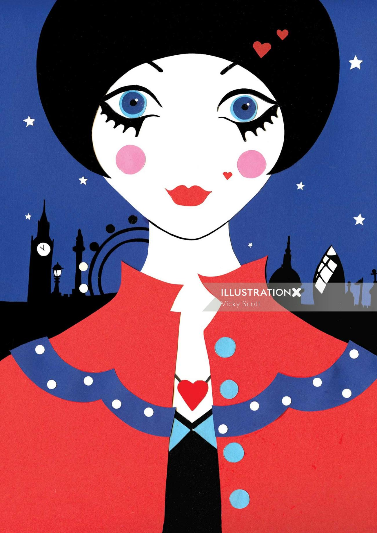 London, fashion, coat, heart, Big Ben, skylinw