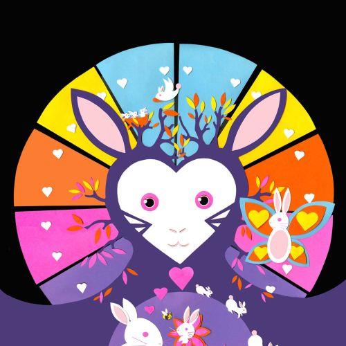 rabbit, rabbits, bunnies, butterfly, hearts, trees, nest, flowers